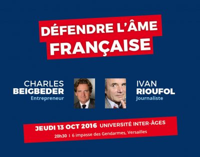 Affiche de la conférence des Eveilleurs d'Espérance « Défendre l'âme française »